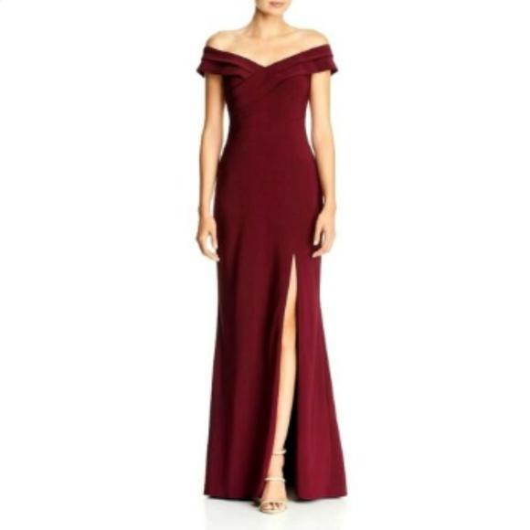 Aqua Off-the-Shoulder Pleat-Detail Gown, Wine